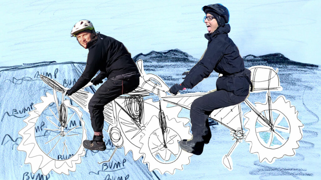 collage of iceland drawing and the authors on bicycles