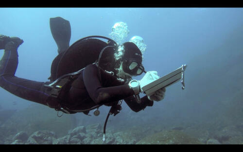diver recording depths on the laminated waterproof map